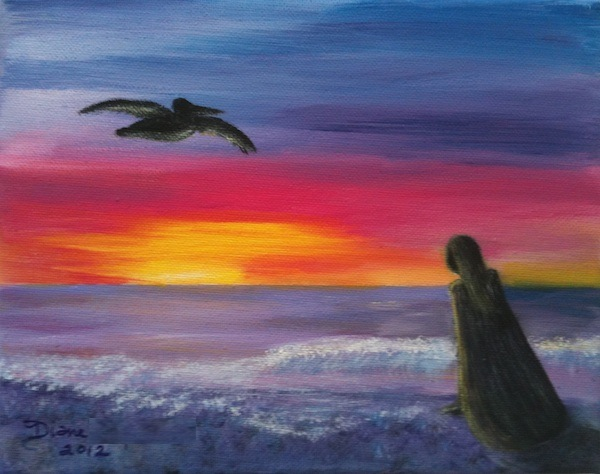 The Princess & the Pelican  Original Painting by Diane